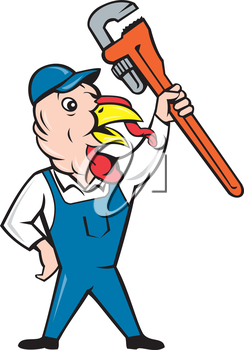 Illustration of a wild turkey plumber standing holding clutching monkey wrench looking to the side done in cartoon style on isolated white background.