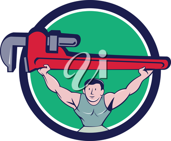 Illustration of a plumber weightlifter lifting giant monkey wrench over head viewed from front set inside circle on isolated background done in cartoon style.