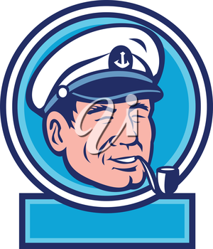 Illustration of a sea captain, shipmaster, skipper, mariner wearing hat cap smoking smoke pipe set inside circle done in retro style.