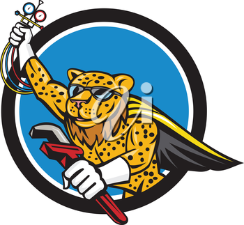 Illustration of a caped superhero leopard refrigeration and air conditioning mechanic holding a pressure temperature gauge and a wrench flying set inside circle done in cartoon style.