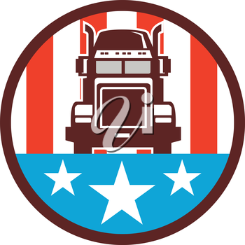 Illustration of a truck viewed from front set inside circle with american stars and stripes in the background done in retro style.