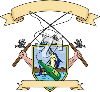 Drawing sketch style illustration of hand holding fishing rod and reel hooking a beer bottle and blue marlin fish with deep sea fishing boat on side set inside crest shield shape coat of arms done in