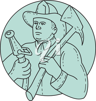 Mono line style illustration of a fireman fire fighter emergency worker looking to the side holding fire hose in one hand and fire axe on the other hand resting on shoulder set inside circle on isolat