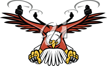 Mascot icon illustration of a half eagle half drone or quadcopter with four rotor propellers swooping down with talons facing viewed from front on isolated background in retro style.