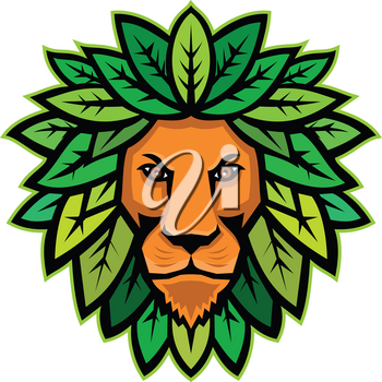 Mascot icon illustration of head of a lion with leaves as mane viewed from front on isolated background in retro style.