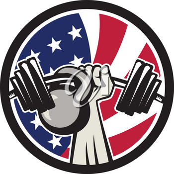 Icon retro style illustration of an American hand lifting a barbell and kettlebell with United States of America star spangled banner or stars and stripes flag set inside circle isolated background.
