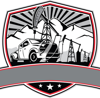 Retro style illustration of a pick-up truck with oil derrick, mountain and sunburst in background set inside crest, shield or badge on isolated background.