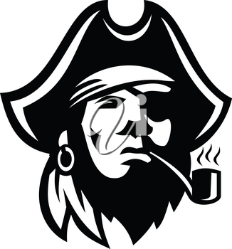 Retro Black and White style illustration of a Buccaneer or pirate with eye patch and tricorne hat Smoking Pipe viewed from front on isolated background.