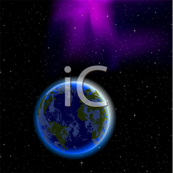 Royalty Free Clipart Image of the Earth in a Night Sky