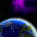 Royalty Free Clipart Image of a Planet in the Night Sky