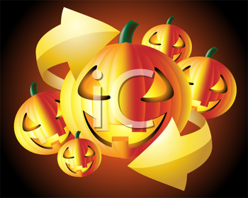 Royalty Free Clipart Image of Halloween Pumpkins and an Arrow
