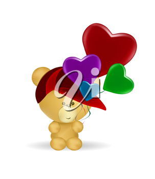 little bear holding heart baloons