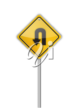 Turn back road sign,  illustration