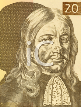 Royalty Free Photo of Janez Vajkard Valvasor (1641-1693) on 10 Tolarjev 1992 Banknote from Slovenia. Nobleman, scholar, polymath, and fellow of the royal society making him Austrian in nationality and