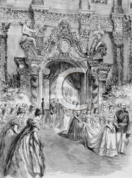 The Bride Entering the Chapel with her Father, the Duke of Coburg. Engraving published by the Graphic in 1894.