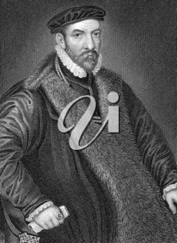 Nicholas Bacon (1510-1579) on engraving from 1838. English politician and father of the philosopher and statesman Francis Bacon. Engraved by W.H.More after a painting by Zucchero and published by J.Ta