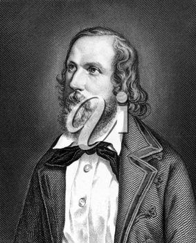 Friedrich Hecker (1811-1881) on engraving from 1859.  German lawyer, politician and revolutionary. Engraved by Nordheim and published in Meyers Konversations-Lexikon, Germany,1859.