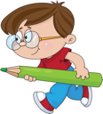 Royalty Free Clipart Image of a Boy With a Green Pencil