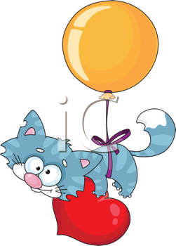 Royalty Free Clipart Image of a Kitten on a Balloon With a Heart