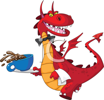 illustration of a dragon waiter with cup