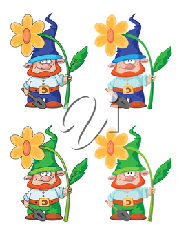 illustration of a gnome and flower