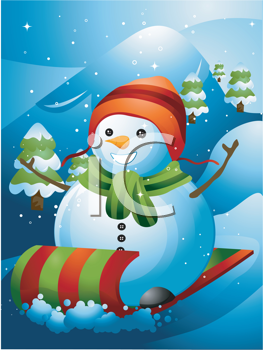 Royalty Free Clipart Image of a Snowman on a Sled