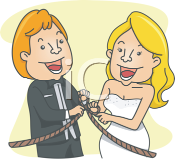 Royalty Free Clipart Image of a Couple Tying the Knot