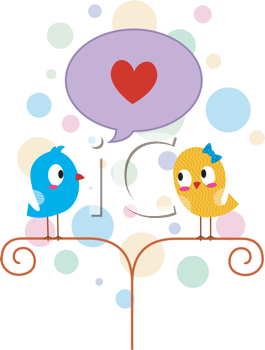 Royalty Free Clipart Image of Birds With a Heart Bubble