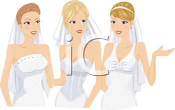 Royalty Free Clipart Image of Three Women in Bridal Gowns