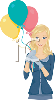 Royalty Free Clipart Image of a Smiling Lady With Balloons