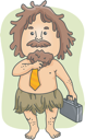Royalty Free Clipart Image of a Caveman With a Briefcase