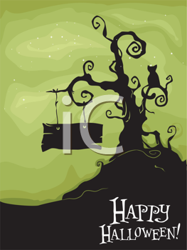 Royalty Free Clipart Image of a Halloween Greeting With a Spooky Tree