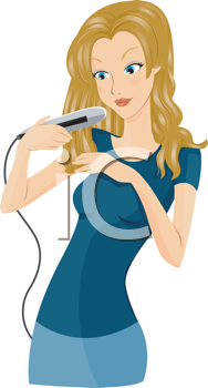 Royalty Free Clipart Image of a Girl Using a Flat Iron