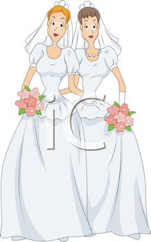 Royalty Free Clipart Image of Two Women in Wedding Dresses