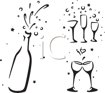 Royalty Free Clipart Image of a Wine Bottle and Wine Glasses