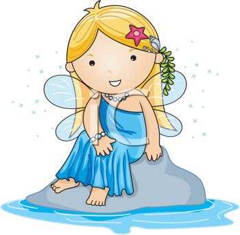 Royalty Free Clipart Image of a Water Fairy Sitting on a Rock