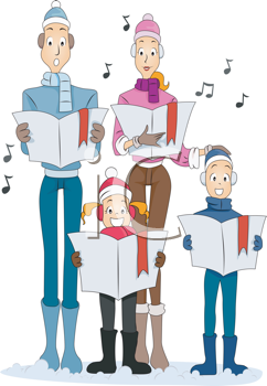 Royalty Free Clipart Image of a Family Singing Christmas Carols