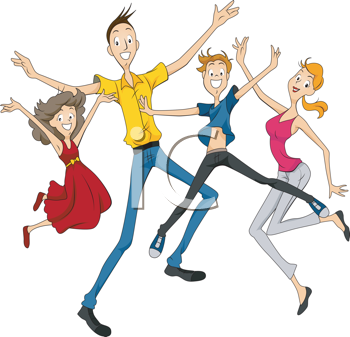 Royalty Free Clipart Image of a Jumping Family