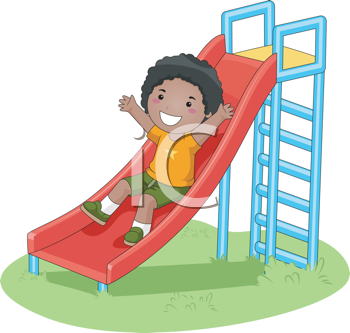 Royalty Free Clipart Image of a Boy on a Slide