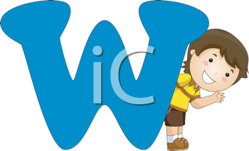 Royalty Free Clipart Image of a Boy Beside a W