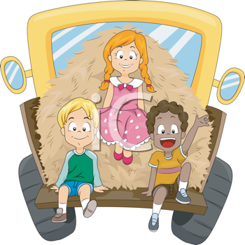 Royalty Free Clipart Image of a Children in the Back of a Truck With Hay