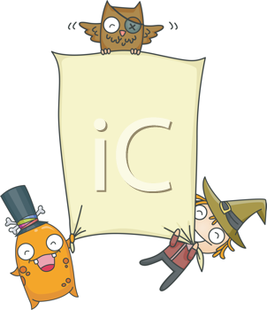 Royalty Free Clipart Image of Halloween Creatures Holding a Blank Sign