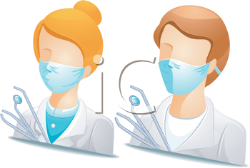 Royalty Free Clipart Image of Faceless People in Dentist's Clothes