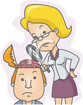 Royalty Free Clipart Image of a Woman Examining the Contents of a Man's Head