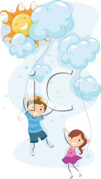 Royalty Free Clipart Image of Children Using Clouds as Kites