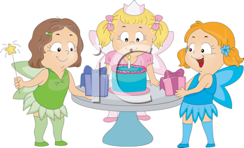 Royalty Free Clipart Image of Children at a Birthday Party