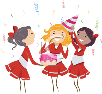 Royalty Free Clipart Image of Cheerleaders at a Party