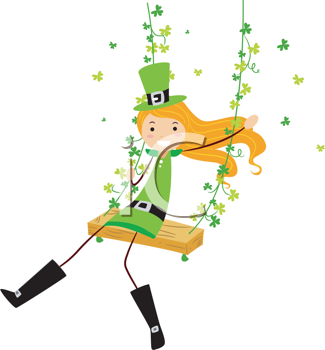 Royalty Free Clipart Image of an Irish Girl on a Swing