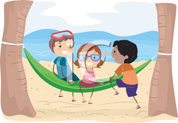 Royalty Free Clipart Image of Children on a Hammock