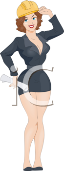 Royalty Free Clipart Image of a Pin-Up Engineer